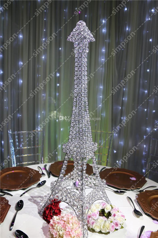 Free shipment candelabra centerpiece eiffel tower crystal - Mesa tower crystal ...