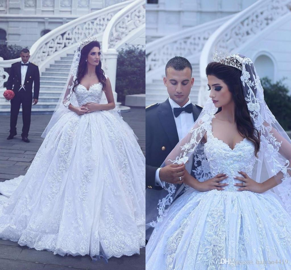 1f8437039f8 2017 Saudi Arabia Ball Gown Wedding Dresses Sweetheart Cap Sleeves Lace  Appliques Crystal Beaded Plus Size Court Train Formal Bridal Gowns Bargain  Wedding ...