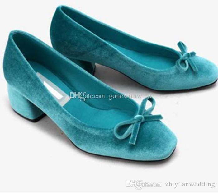 Mary Jane Wedding Shoes 2018 Green Blue Burgundy Vintage Velvet Pumps For Women Evening Party Prom Glitter Ivory Flat