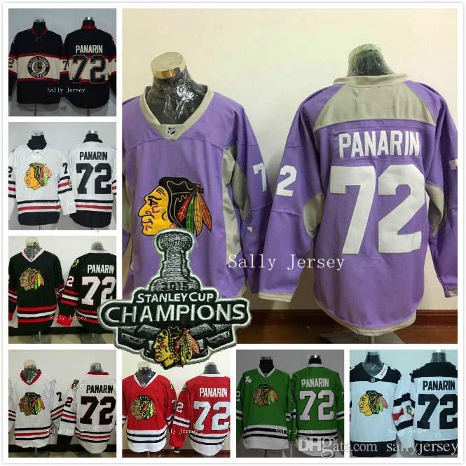 6a4b00ed787 ... 2017 72 Artemi Panarin Jersey 2015 Champions Patch Nhl Chicago  Blackhawks Ice Hockey Jersey Home Black ...