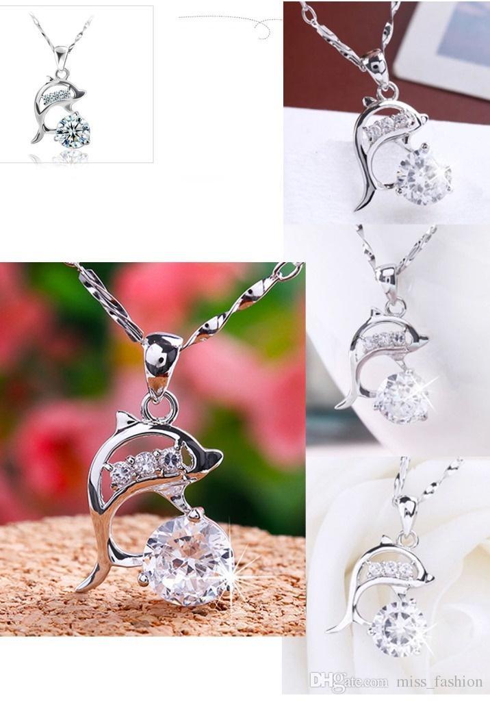 925 Sterling zilveren artikelen Crystal Sieraden 3 D Dolfijn Diamond Hanger Kettingen Bruiloft Vintage Infinity Charms