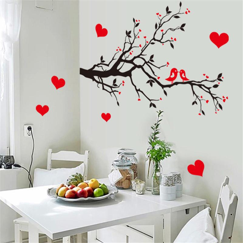 birds on the branches with love heart wall sticker 7179 home decor