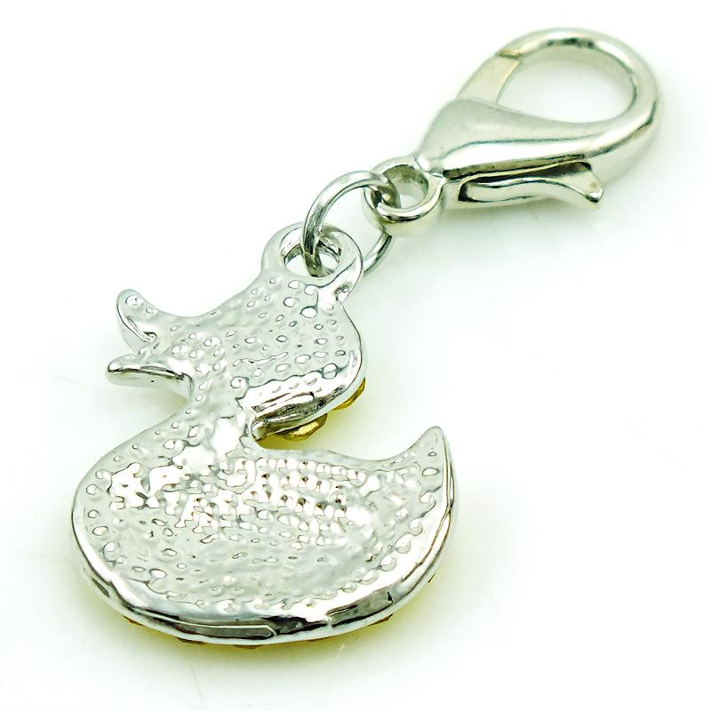 Fashion Charms With Lobster Clasp Dangle Rhinestone Duck Animals Pendants DIY Charms For Jewelry Making Accessories