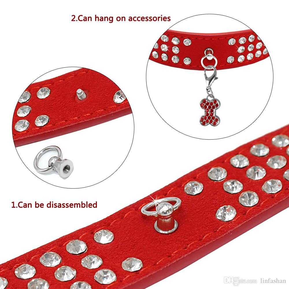 i misti Brand new collare cani in pelle scamosciata 3 file strass Collare cani diamante Collari animali carini 100% qualità 4 taglie disponibili