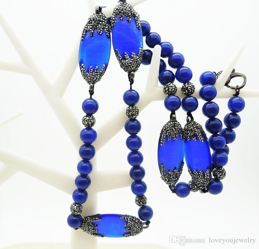 Wholesale Natural Agate Necklace,Diamond Sapphire Men and Women Necklace,Crystal Rhinestone String Necklace,Handmade Blue Turkey Beads