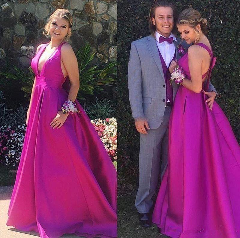 Fuchsia Hot Pink Satin Evening Dresses 2019 Sexy Deep V Neck ...