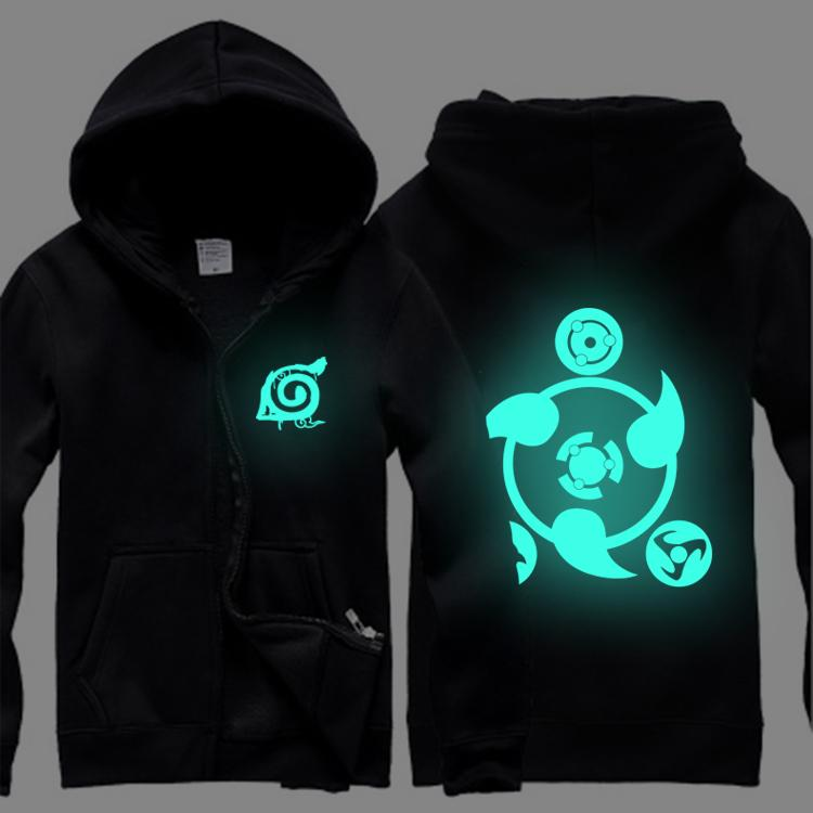 Wholesale-Luminous glow in dark naruto Sasuke Kakashi anime men women hoodies sweatshirt zipper hip hop warm autumn winter coat jacket