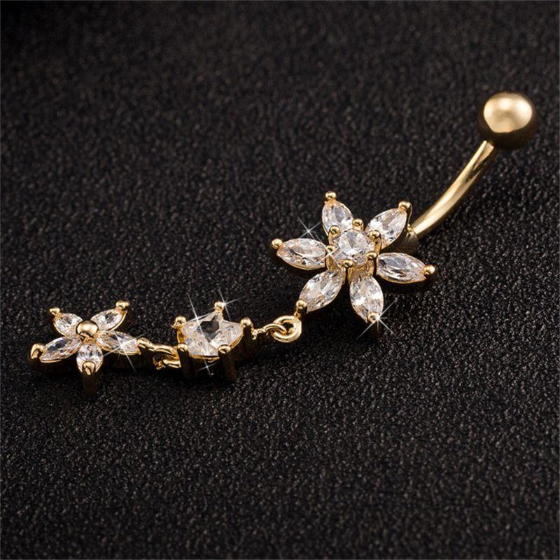 Star Flower CZ Piercings Gioielli Womens Sexy Belly Pulcy Ring Long Dangle Bann Gold Dangle Body Gioielli Piercing Rosso / Rosa