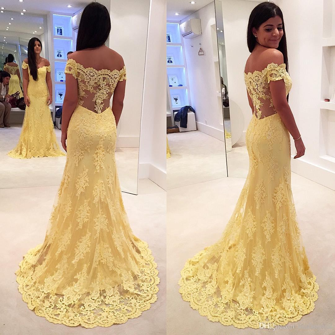 819257c76fe75 2019 Lemon Yellow Mother Of The Bride Dresses Off Shoulder Lace Appliques Formal  Evening Gowns Pearls ...