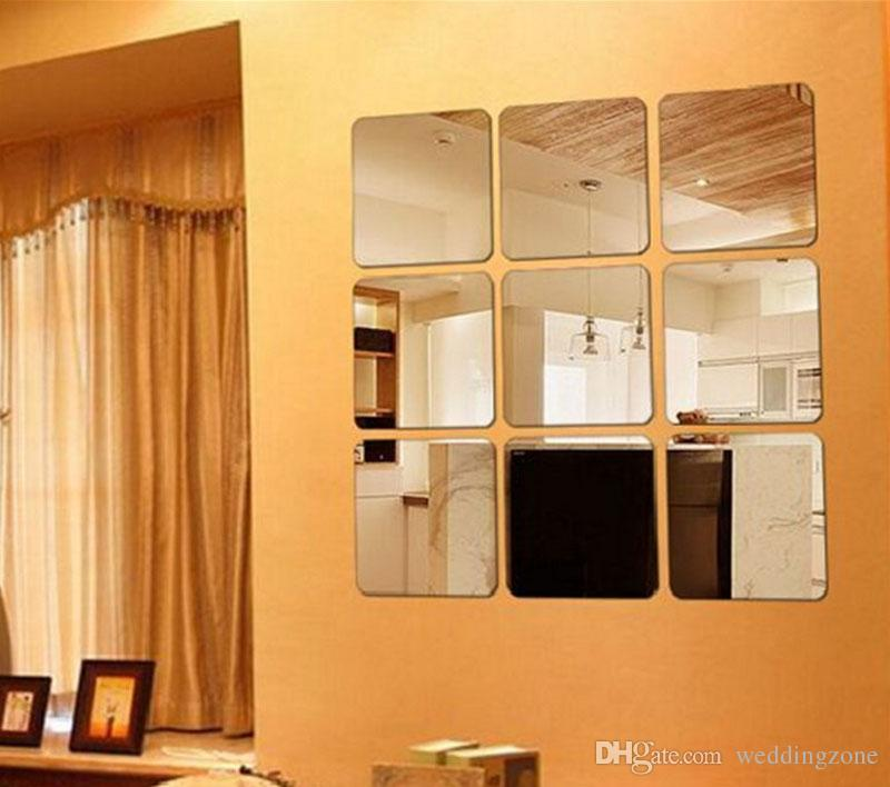 15cm * 15cm PET Square Mirror Surface Wall Sticker Decoration combination Removable mirror sticker For
