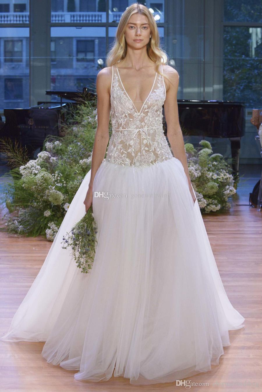 Dropwaist Tulle Ball Gown Wedding Dresses 2017 Monique Lhuillier ...