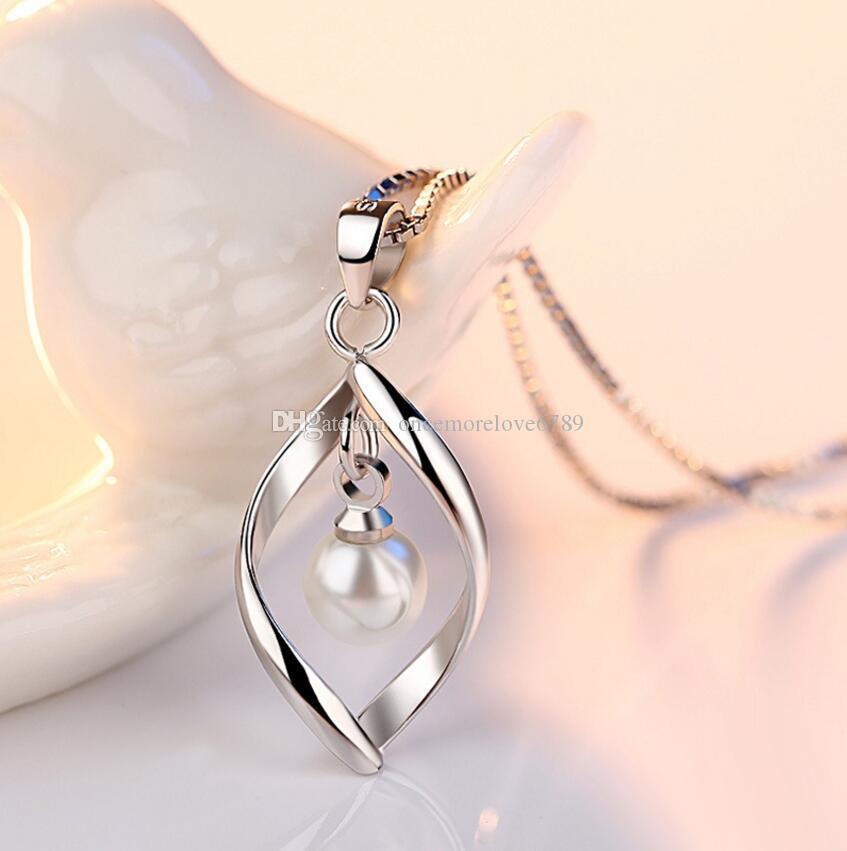 Nuevo 925 Plata Esterlina Plateado Imitado Perla de Agua Dulce Colgante Torcido Collar de Corazón Colgante de Gota de Agua Colgante de Joyería de Moda