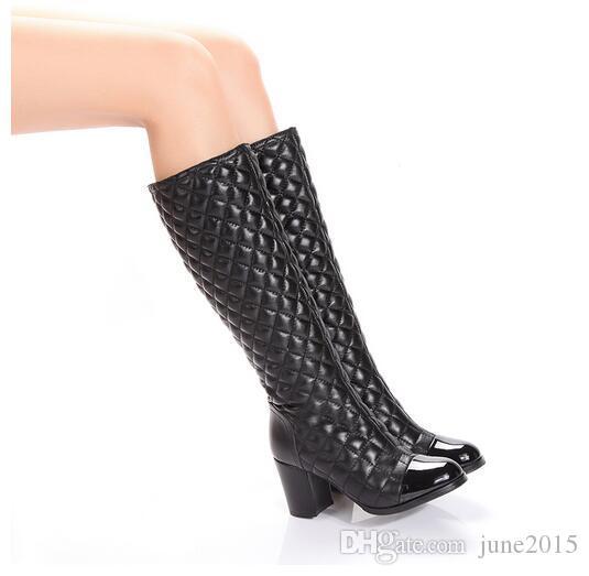 Las mujeres de tacón bajo diamante enrejado cremallera botas invierno clásico de lujo marca de moda de cuero genuino señoras de piel de oveja sexy cachemira cálida arranque