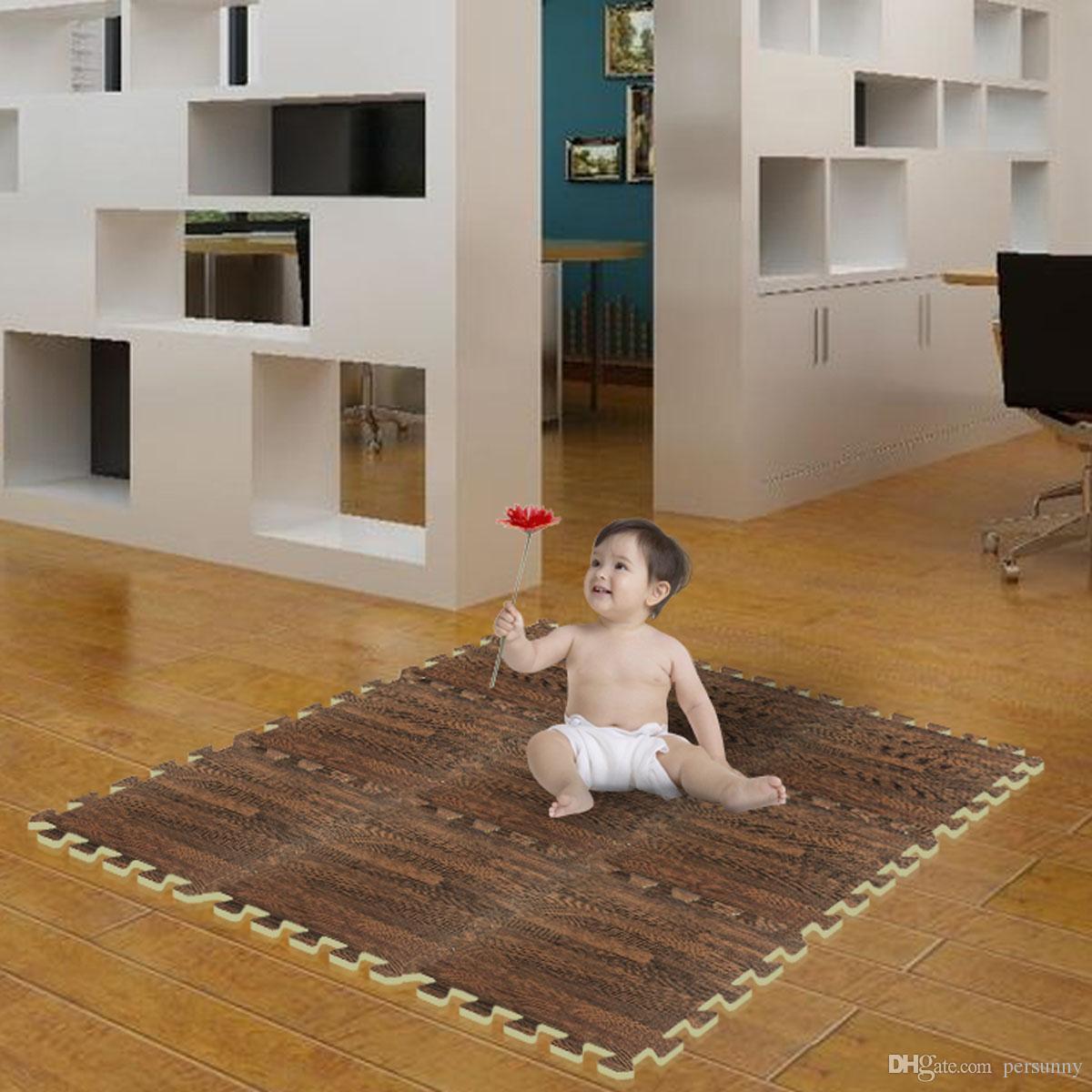 300mm eva foam puzzle mat carpet wood grain soundproof floor mats