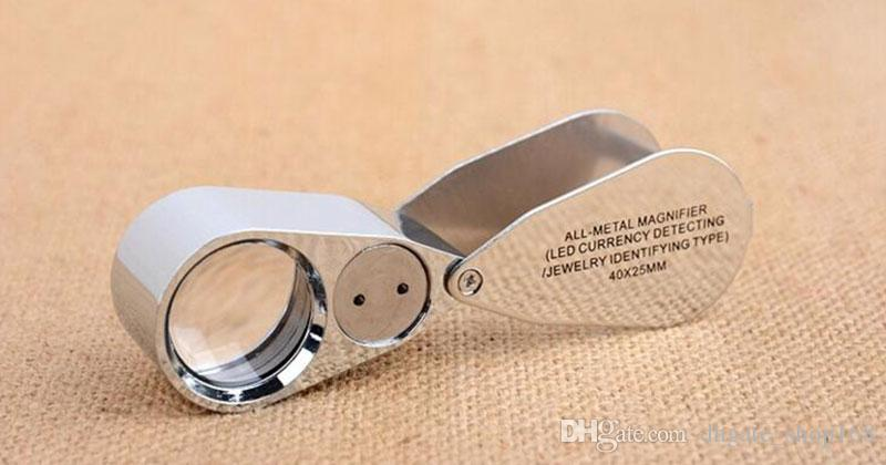 New Illuminated Jewelers Lente di ingrandimento 40x 25mm con luci UV a LED