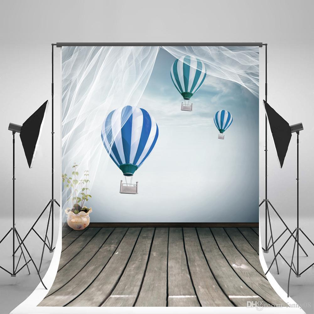 Wrinkles Free Photography Backdrops Indoor Hot Air Balloons Birthday Photo Background Grey Wood Floor Backgrounds for Children Birthday Part