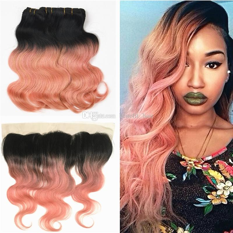 Dark Root 1b Rose Gold Human Hair Bundles With Lace Frontal Two Tone