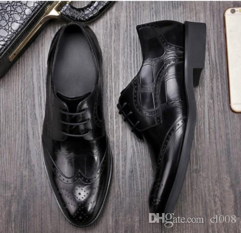 Luxury quality Men leather dress shoes breatheable holes waxed cow leather half munual work National Quality Inspection Certificate