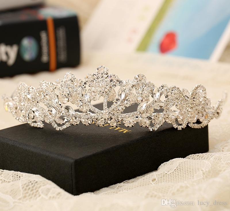 Rhinestone Crystal Wedding Party Prom Homecoming Crowns Band Princess Bridal Tiaras Hair Accessories Fashion