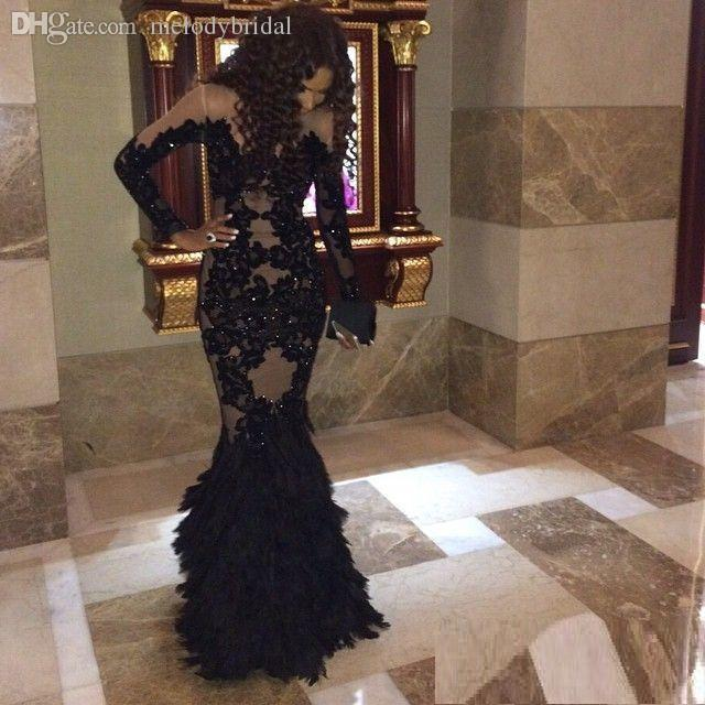 Luxury Black Prom Dresses With Long Sleeves Sheer Champange Arabic Evening Gowns Real Tulle Mermaid Formal Dresses Gowns Plus Size