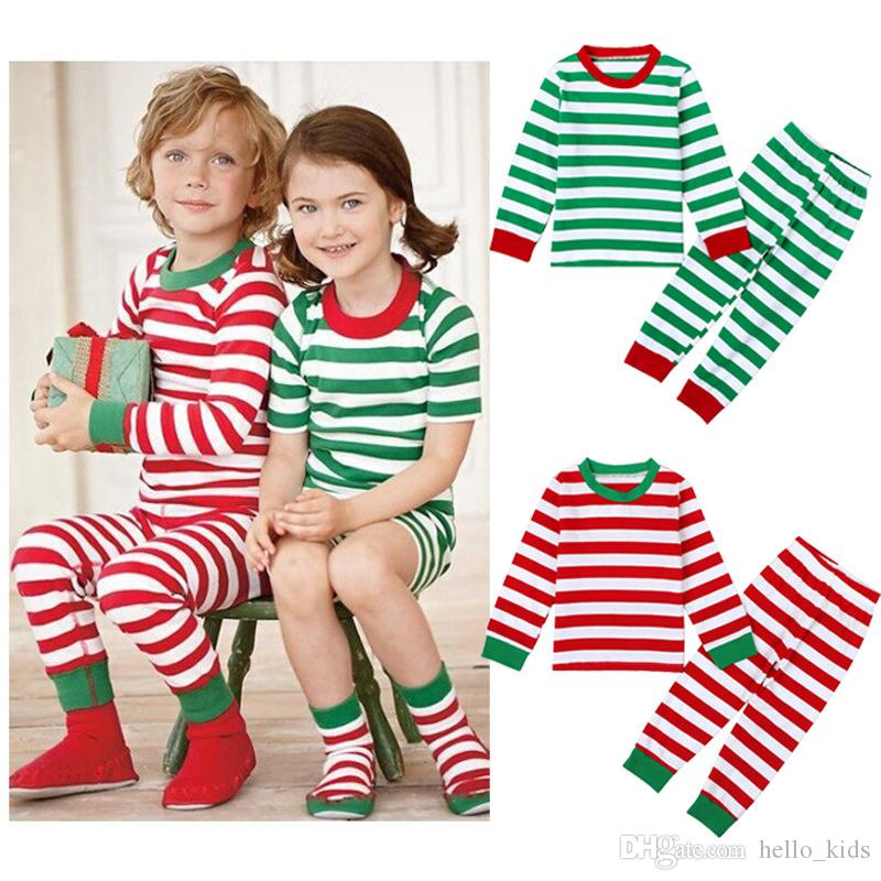 d5d981995 2017 XMas INs Boy Girls Kids Long Sleeves Stripes Christmas Pajama ...