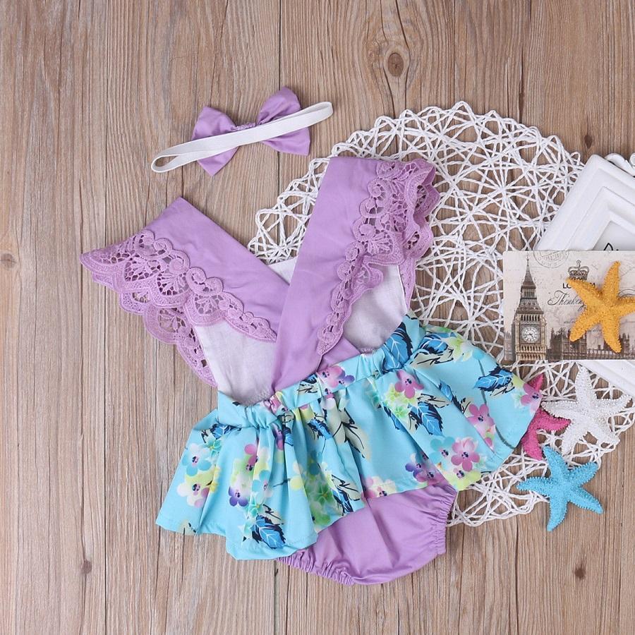 Robe Nouveau-né Enfants Vêtements Bébé Infantile Fille Barboteuse Robe Florale Mini Tutu Robes Princesse Sundress Party Toddler Jumpsuit Body