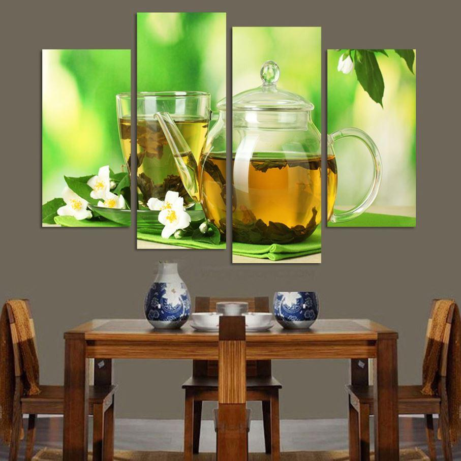 Charmant 4 Panels Modern Kitchen Art Picture Painting Combination Modern Canvas  Paint Best HAPPY Life Paintings Decoration Of Teahouse High Quality  Decorative F ...