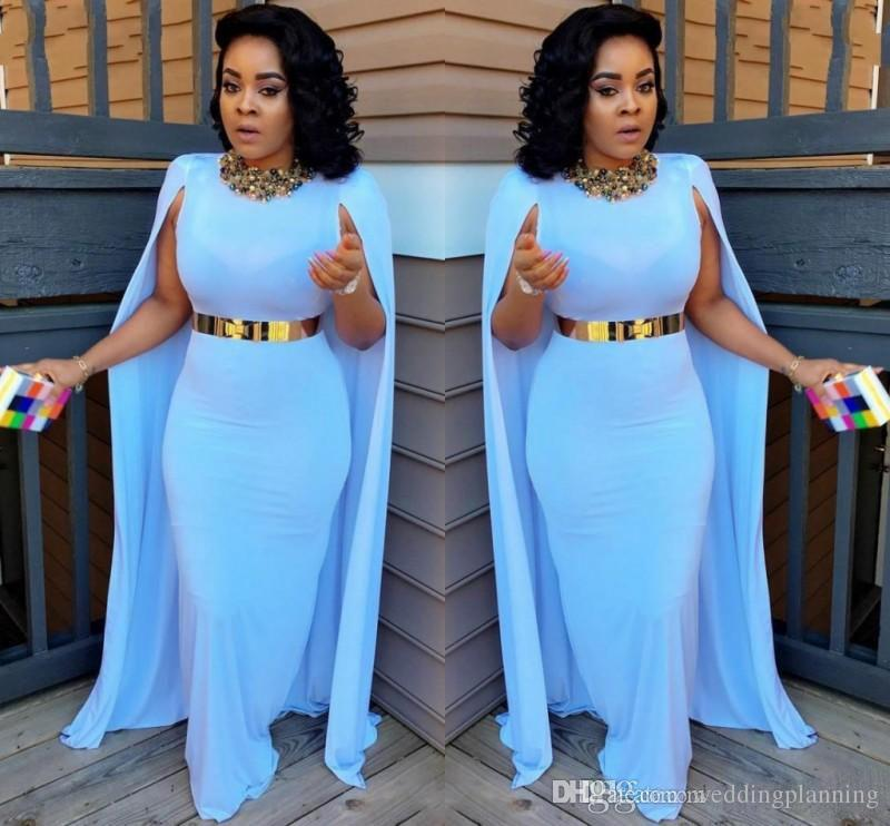 Light Blue Plus Size Cape Style Evening Dresses 2017