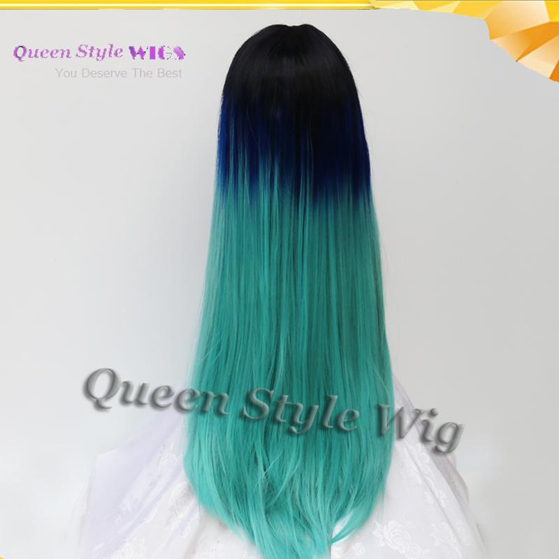 2017 Trendy Colour Direttamente seta Coloured Black Root Two Tone Blue ombre Parrucca anteriore in pizzo sintetico parrucche Fashion Lady
