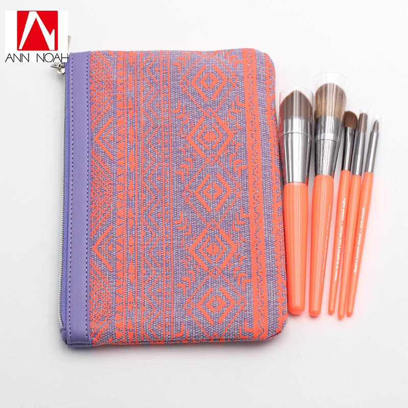 New Collection Bright Orange Plastic Handle Synthetic Fiber 5pcs Lipstick Jungle Brush Set with Portable Cosmetic Bag Makeup Brushes