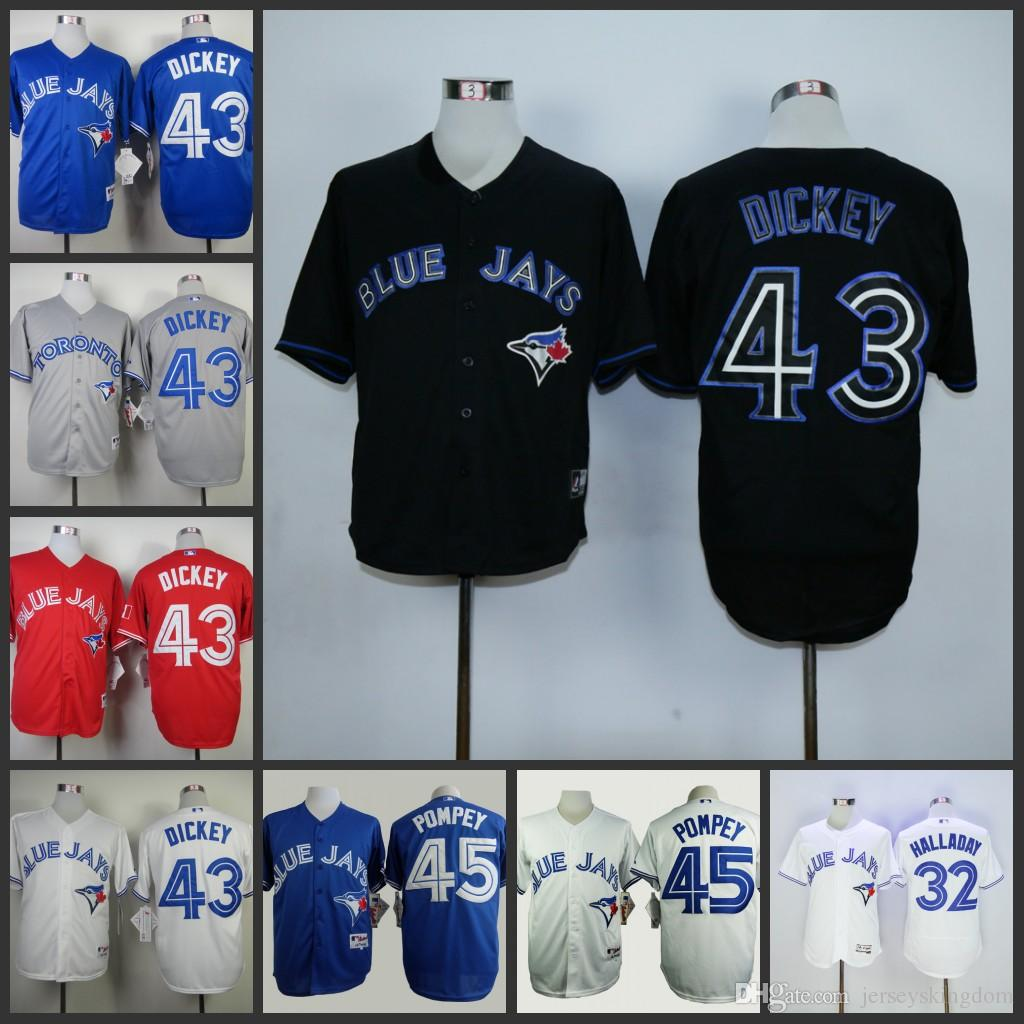 9316f035514 ... Jersey Pack Sale 2017 Mens Toronto Blue Jays 43 R.A. Dickey Blue Red  Grey White Cool Base Flex Base ...