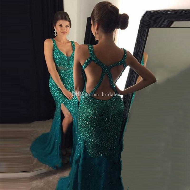 c8c6019d23 Glitter Gold Mermaid Prom Dresses Long 2017 Sweep Train High Slit Sexy V Neck  Backless Party Dress Fast Shipping Prom Maxi Dresses Prom Style Dresses  From ...