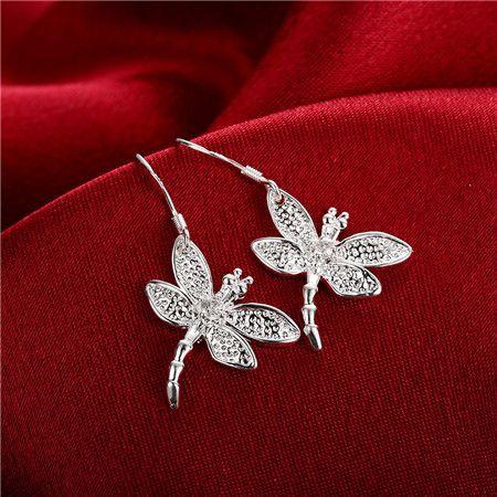 Best-seller argent 925 zircon libellule collier boucles d'oreilles ensemble de bijoux livraison gratuite