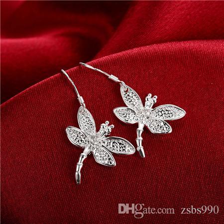 Best-Selling 925 Silver Zirkoon Dragonfly Ketting Oorbellen Sieraden Set Gratis verzending