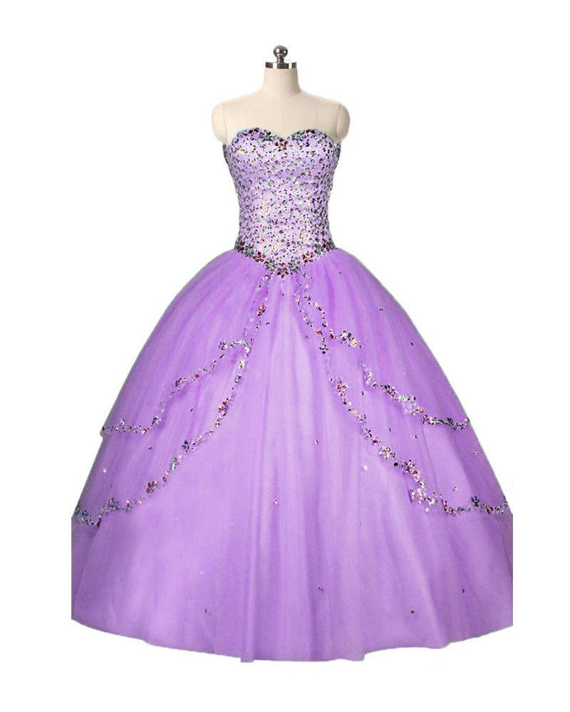 2017 Fashion Sweetheart Crystal Ball Gown Quinceanera Dress con paillettes Tulle Plus Size Sweet 16 Abito Vestido Abiti Debuttanti BQ77