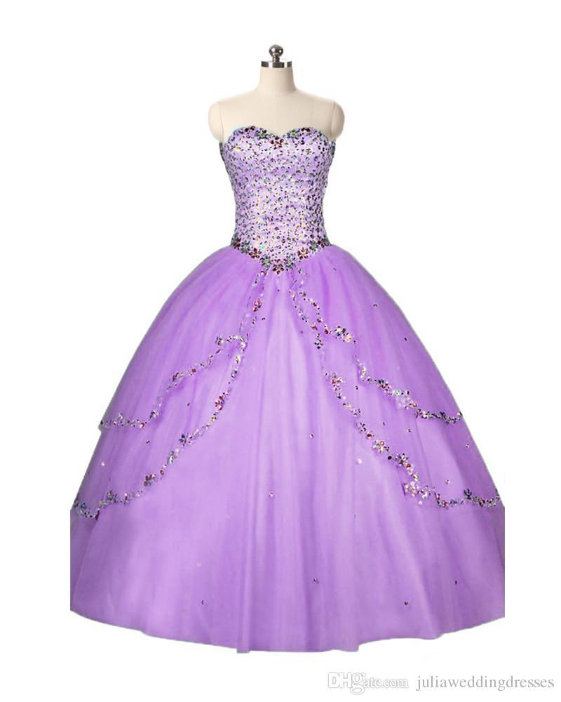 2017 Moda Sevgiliye Kristal Balo Quinceanera Elbise Payetli Tül Artı Boyutu Tatlı 16 Elbise Vestido Debutante Törenlerinde BQ77