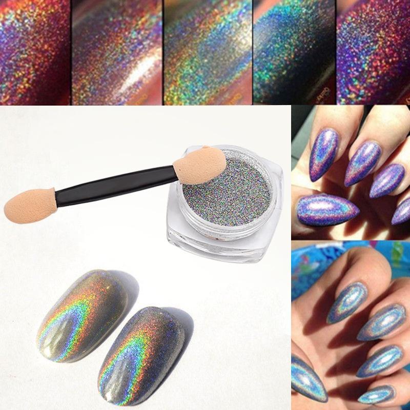Shiny Rainbow Laser Magic Mirror Powder Nail Glitter Fashion Pretty ...