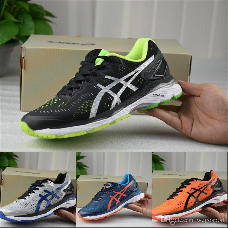 sale retailer b0ca9 22a99 2019 2019 Asics Gel Kayano 23 Running Shoes Top Quality Cushioning Original  Designer Men Shoes Boots Sport Sneakers Size 36 45 From Wegosport, ...