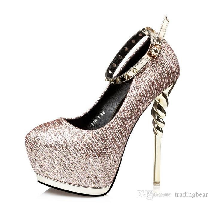 e41fa5aabfd 2017 Sexy Gold Silver Rivets Pumps Ankle Strap Platform High Heels ...