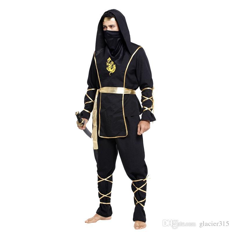 Ninja Halloween Costume Men.Shanghai Story Hot Sale Halloween Cool Man Ninja Costumes Hokkaido Samurai Suit Japanese Ninja Costume Men Cosplay Without Sword
