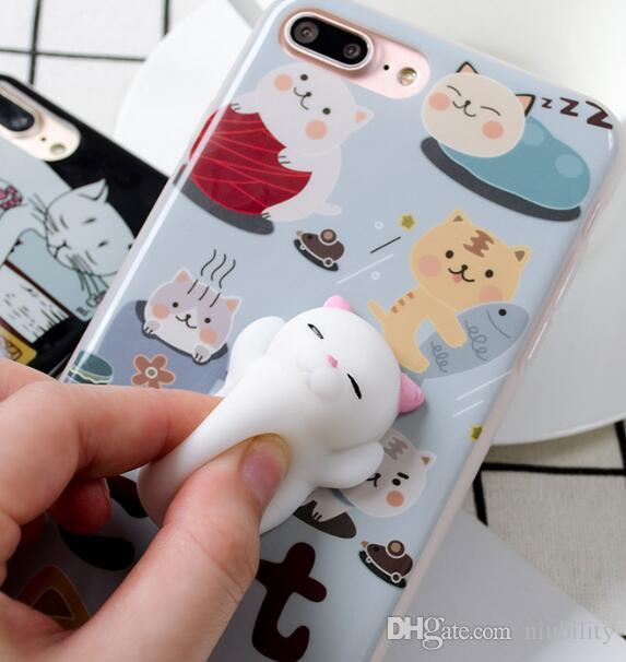 c26be1910e Squishy Cat Phone Case For IPhone 6 6S 6 Plus 3D Soft Silicone Panda  Sleeping Cat Kitty Cover For IPhone 7 7plus Cute Phone Case 16 Styles  Durable Cell ...