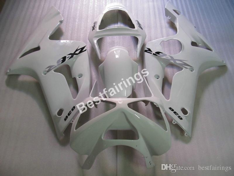 Günstige Spritzguss Kunststoffverkleidungen für Kawasaki Ninja ZX6R 03 04 weiß Motorradverkleidung Kit ZX6R 2003 2004 UY31