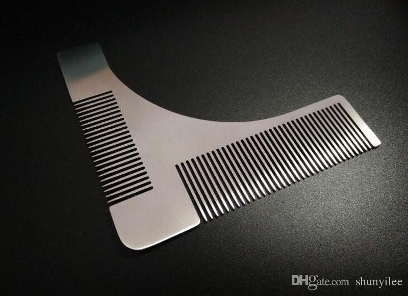 Barba de acero inoxidable que forma la herramienta peine herramienta de afeitar herramienta de afeitar peine barba hombres caballero herramientas de modelado envío rápido ZA1979