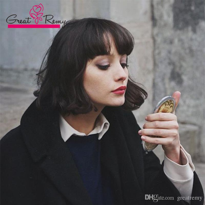Greatremy® 150% 180% espessura do cabelo humano barato bob peruca do laço peruvian curto Audrey Hepburn estilo Lace Front perucas com franja
