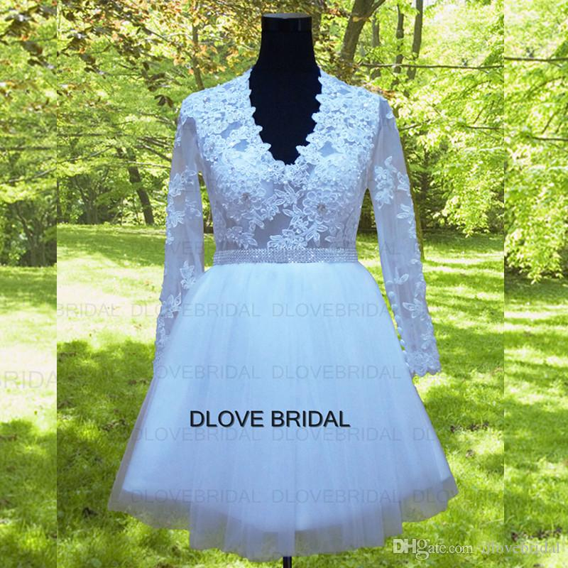 Classic Short V Neck Lace Wedding Dress with Full Long Sleeves Factory Real Photo Custom Made Vestios De Marriage See Through Little Gown