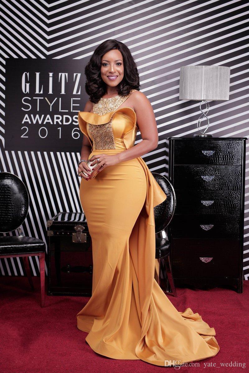 Vestidos de noche de sirena de talla grande amarillos 2017 Alfombra roja más nueva Vestidos de celebridades Perlas Satén Fruncido Vestidos de noche formales Tren de barrido