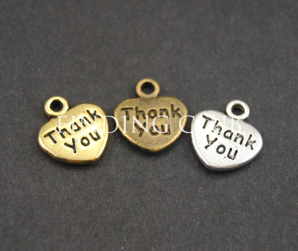 011052b8cecf Wholesale-Thank You Love Heart Jewelry Making Charms DIY Metal ...