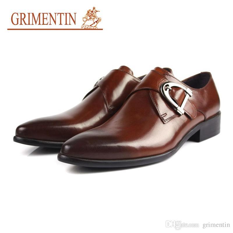 db4059e95 Compre GRIMENTIN Moda Italiana Diseñador Hombres Zapatos Oxfords Cuero  Genuino es Hebilla Marca De Lujo Formal De Negocios De Boda Zapatos  Masculinos A ...
