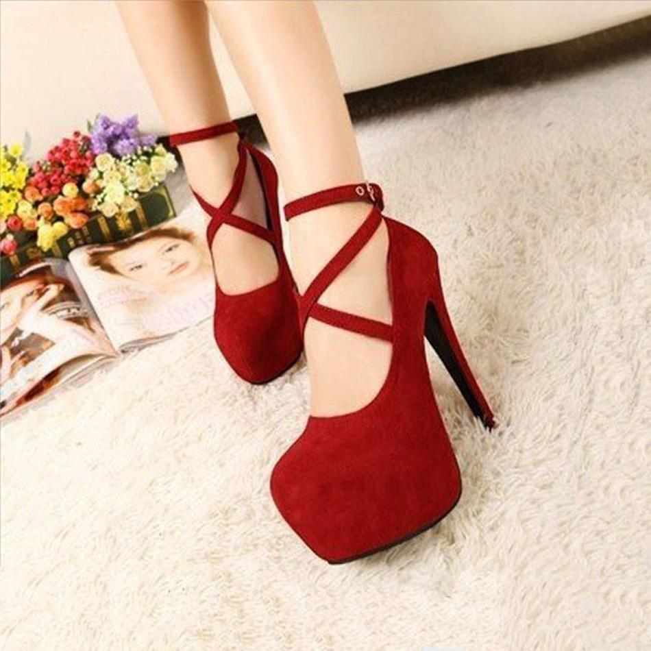 0bcf4d358a9e Sexy Formal OL Style Ankle Strap Lace Up Platform High Heel Shoes Large  Size Black Red Womens Pumps Spaghetti Heels High Heels Wedge Booties  Saltwater ...