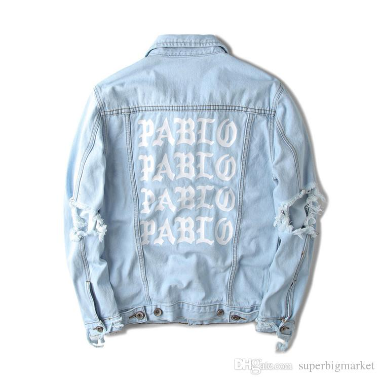 Fall-424 Kanye West Pablo Denim Ceketler Erkekler Hip Hop Yeezus Turu Marka Giyim Streetwear Kot Ceketler Kanye Gibi Hissediyorum
